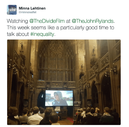 @minnaleaflet post about The Divide documentary film screening