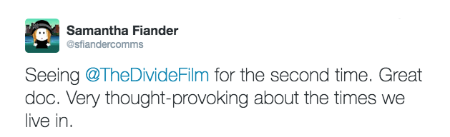@sflandercomms post about The Divide documentary film