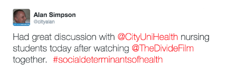 @cityalan post about The Divide documentary film screening