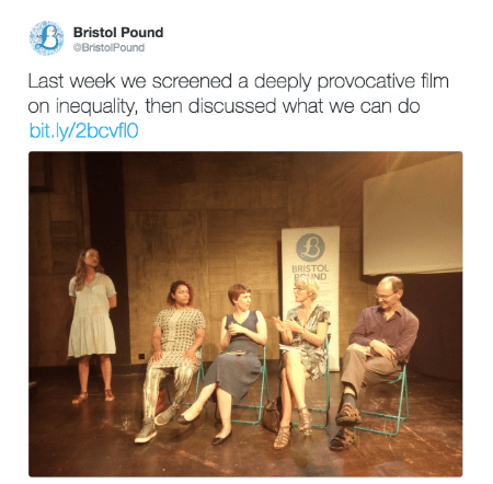 @BristolPound post about The Divide documentary film screening